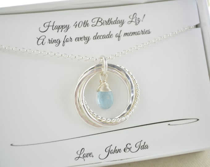 40th Birthday gift for women, Birthstone jewelry, Aquamarine birthstone necklace, 40th birthday necklace, 4 Rings for 4 decades necklace