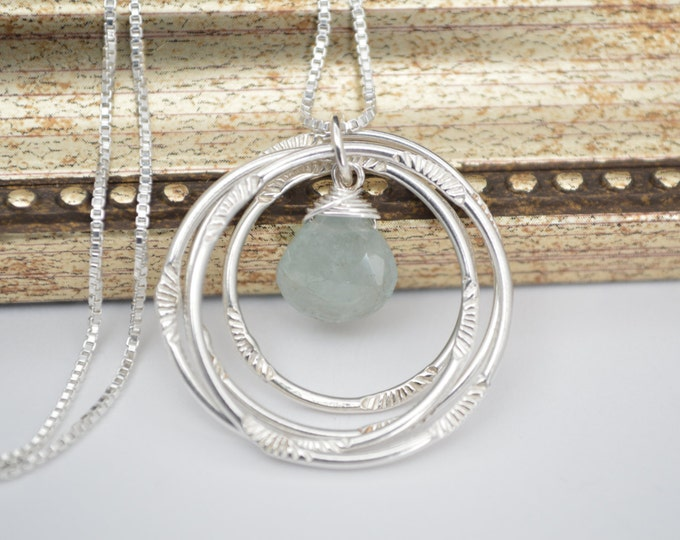 Aquamarine necklace, March birthstone necklace, 40th birthday gift for best friend, Bridesmaid gift, Sister jewelry, 4 rings necklace