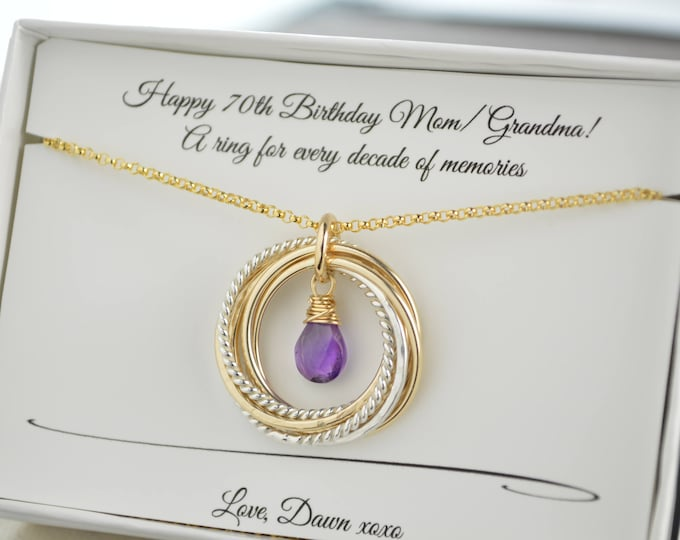 70th Birthday necklace gift for mom and grandma, 7 Rings necklace, February birthstone necklace, 7 Mixed metals necklace, 7th Anniversary