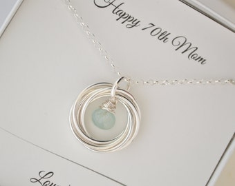 70th Birthday Gift For Mom 7 Interlocking Rings March Birthstone Necklace And Grandmother Aquamarine