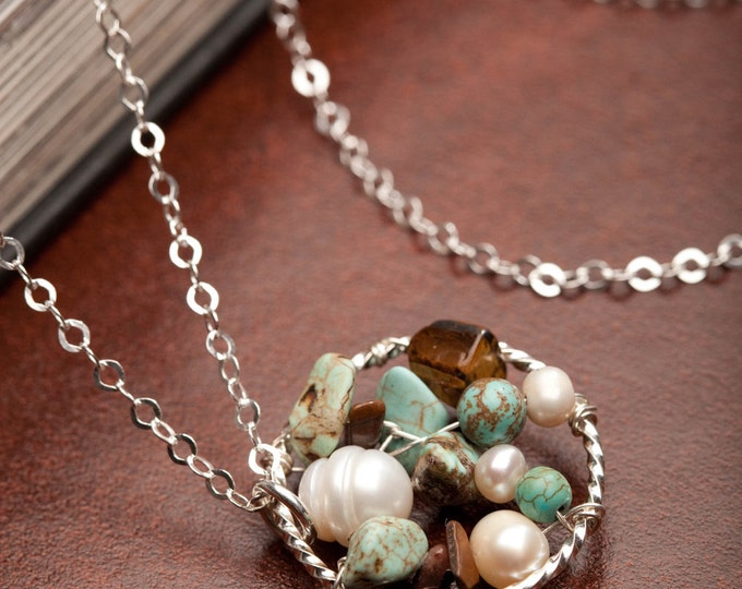 Sterling Silver Dreamcatcher Necklace, Turquoise Stone, Cultured Pearl Eye of Tiger Necklace, Handmade Multi Stone Necklace, Wedding Jewelry