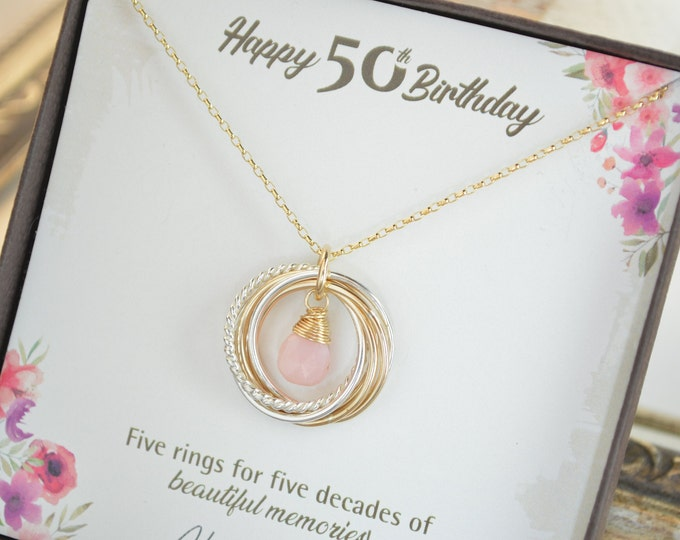50th Birthday jewelry for women, 5 Decades necklace, 50th Birthday necklace, 50th Birthday gifts for mom, 5 Rings necklace, Pink opal neck