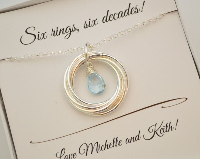 60th Birthday Gift for Mom Necklace, 6th Anniversary Gift for Women, 6 Rings Necklace, Blue topaz jewelry, December birthstone necklace
