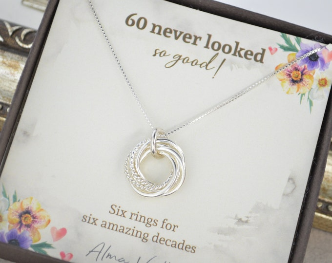 60th Birthday jewelry for women, 6 Decades necklace, 6 Rings for 6 decades, 60th Birthday gift for mom, Dainty 60th  birthday necklace