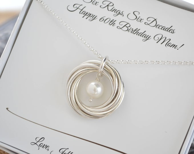 60th Birthday gift for mom and aunt necklace, 6th Anniversary gift for her, June birthstone necklace, Pearl jewelry, 50th Birthday for women