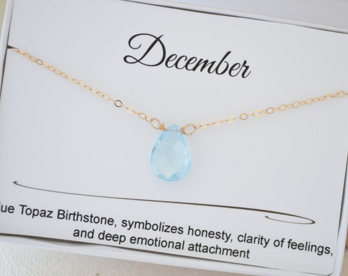 December birthday gift for women, Blue topaz necklace for her, Gold blue topaz necklace, December birthday jewelry, Small gemstone necklace
