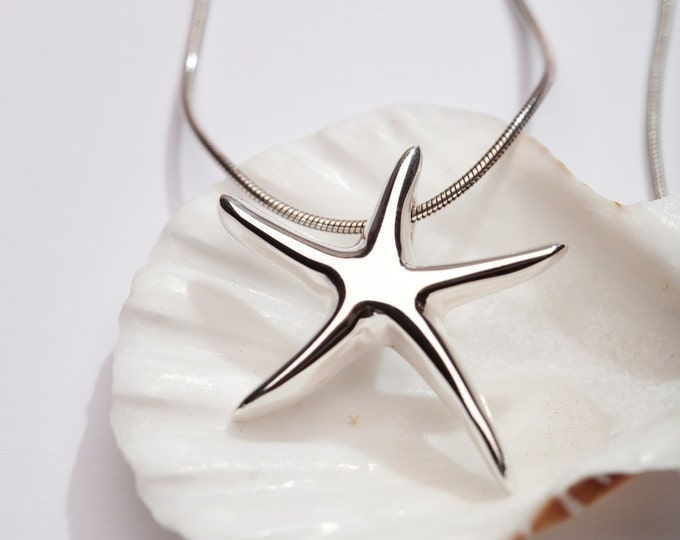 Sterling Silver Jewelry --Starfish Necklace-, Beach Wedding, Bridesmaid Gift, Mother's Day Jewelry
