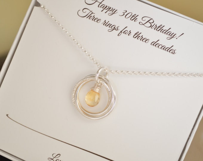 30th Birthday gift for sister, 3 sisters jewelry, 30th Birthday gift her necklace, 3 Best friend necklace, November jewelry,Citrine necklace