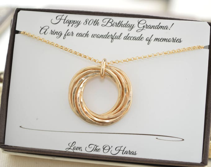 80th Birthday gift for grandma, 8 Gold rings necklace, 8th Anniversary gift for her, Golf filled necklace, 80th Birthday gift for mom
