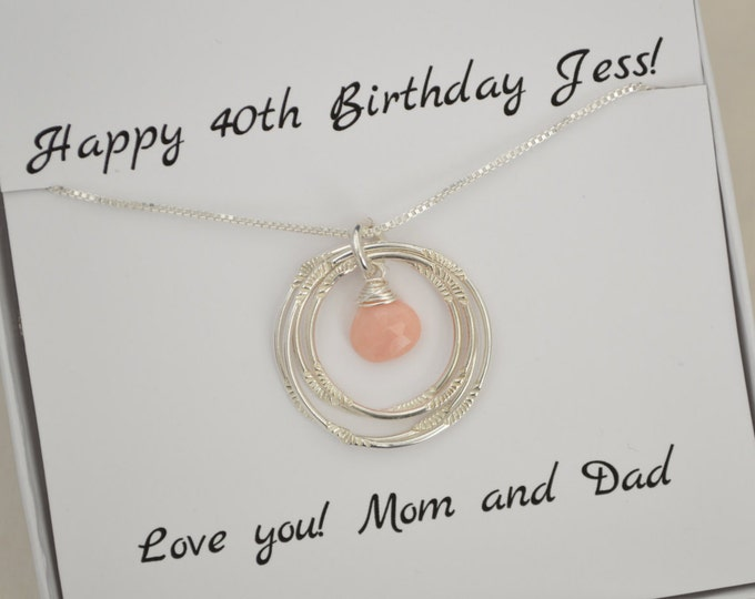 40th birthday necklace, October necklace, October birthstone jewelry, 40th birthday gift, Opal necklace, Mom birthstone necklace