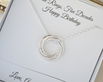 50th Birthday Necklace For Wife Gift Women 5th Anniversary HerBirthday Sister Mom