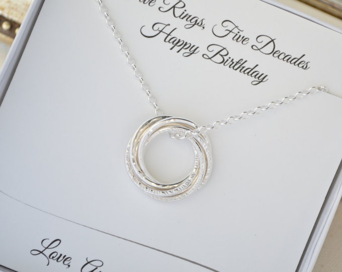 50th Birthday jewelry for women, 50th Birthday gift for women, 5th Anniversary gift for her, 5  Decade necklace, 5 Rings necklace, Milestone