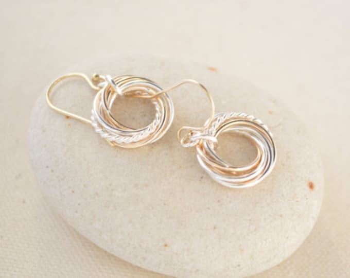 Six mixed metals rings earrings, 6th Anniversary gift earrings, 60th Birthday gift for mom, 60th Birthday gifts, Mixed metal earrings