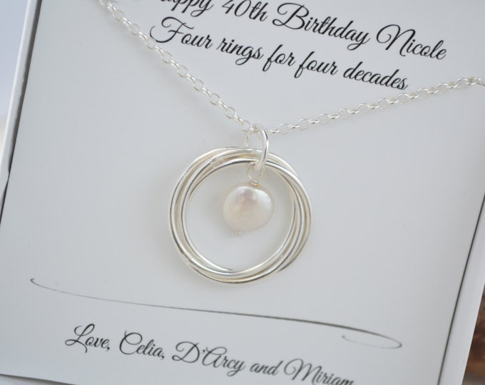 40th Birthday gift for her, 40th Birthday gift for wife, June birthstone necklace, Pearl necklace, 4th Anniversary gift, 4 sisters necklace