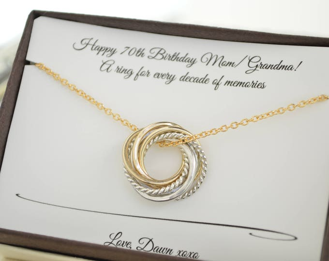 70th Birthday gift for Mom, 7 Birthday jewelry, 7th Anniversary gift, 7 Rings for 7 decades, Family of 7 gift, 70th Birthday for women