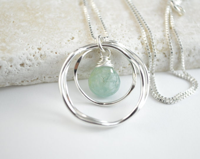 30th birthday gift for her, Aquamarine necklace, March birthstone necklace, 30th birthday jewelry, Birthday gifts, 3 Rings for 3 decades