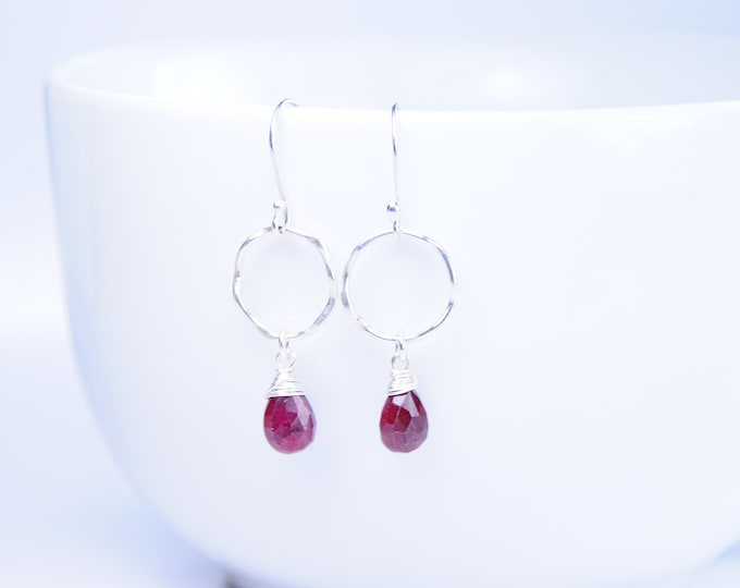 Ruby Gemstone Earrings, Silver + Gemstone Earrings, Silver Jewelry, July Birthstone,Red Stone Earrings,Silver Hooks, July Earrings, Handmade