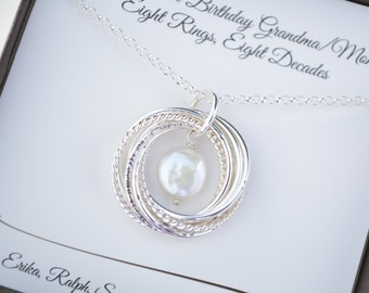 80th Birthday Gift For Mom And Grandma Necklace June Birthstone 8 Anniversary Wife Pearl