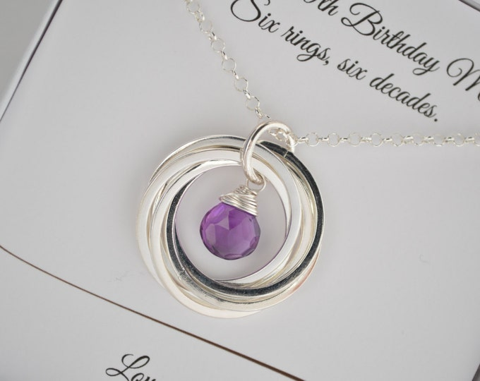 60th birthday gift for wife, 60th birthday gift for women, 6th anniversary gift, Mom necklace, Amethyst Necklace Birthstone jewelry,Birthday