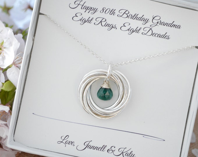 80th Birthday gift for women, 8th Anniversary gift, Emerald necklace, Birthstone jewelry, 80th Birthday jewelry, 8 Rings for 8 decades gift