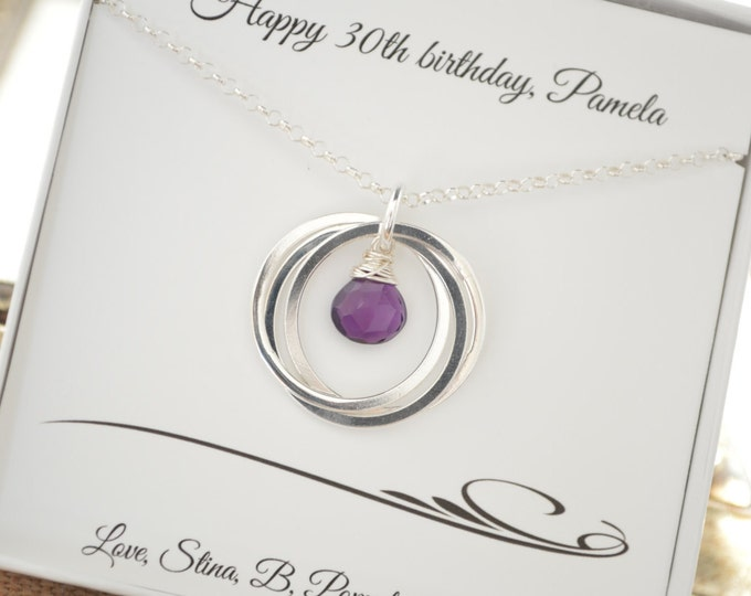 Amethyst birthstone jewelry, 30th Birthday gift for her, February birthstone necklace, Sister jewelry, Gift for sister, 3rd Anniversary gift
