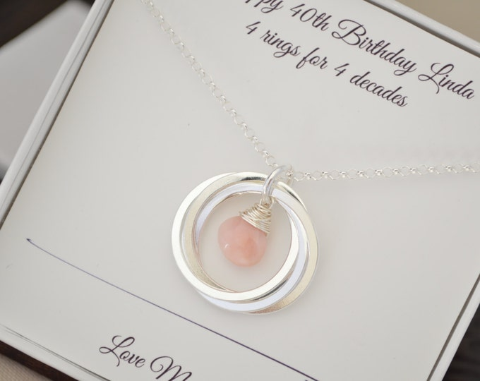 Pink opal necklace, October birthstone jewelry, 40th Birthday gift for wife necklace, 4rd Anniversary gift, 4 Best friend gift, 4 Sisters