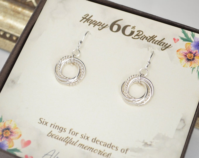 60th Birthday gift for women, 6 Interlocking rings, 6th Anniversary gift, 60th Birthday gift for mom, Birthday gifts, Petite earrings