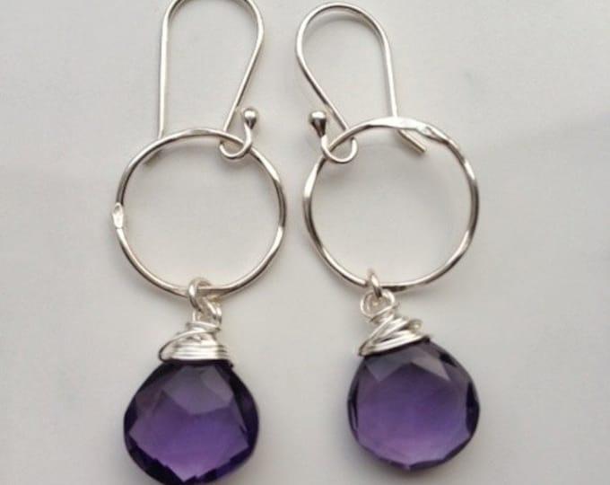 Amethyst Earrings, February Birthstone, Purple Amethyst Earrings, Gem Stones Earrings, Bridesmaid Gifts, Purple Stone Earrings, Silver Hooks