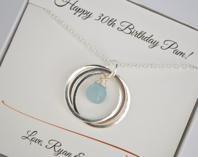 30th Birthday gift for her, Gift for daughter, 3rd Anniversary gift , Aquamarine birthstone necklace, 3 Rings for 3 decades necklaces