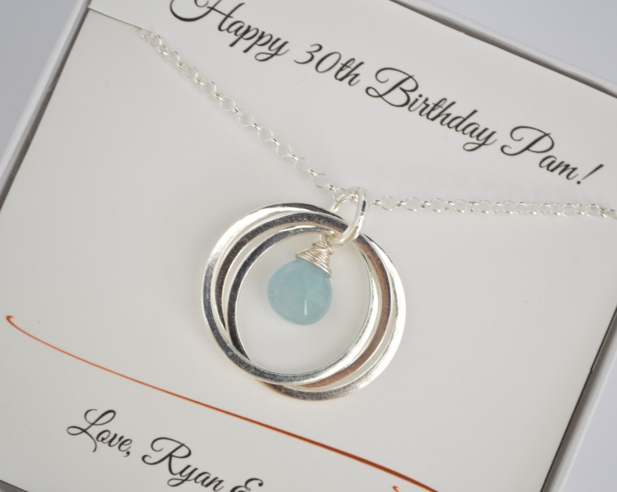 30th Birthday Gift For Women Girlfriend Aquamarine Birthstone Jewelry 3rd Anniversary Best Friend NecklaceSister