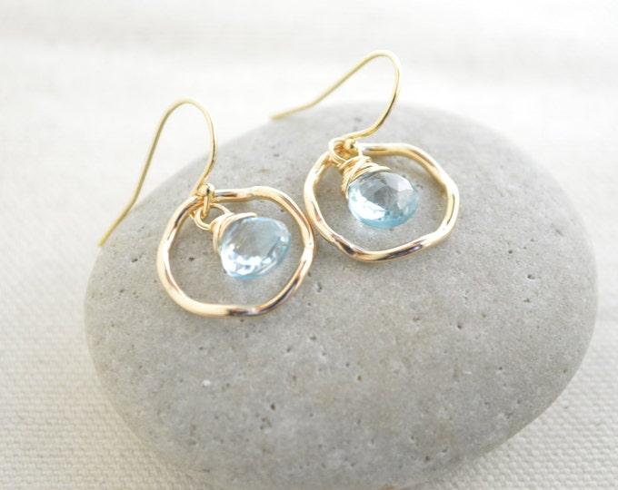 Blue topaz earrings,December birthstone earrings, Gold earrings, Small earrings