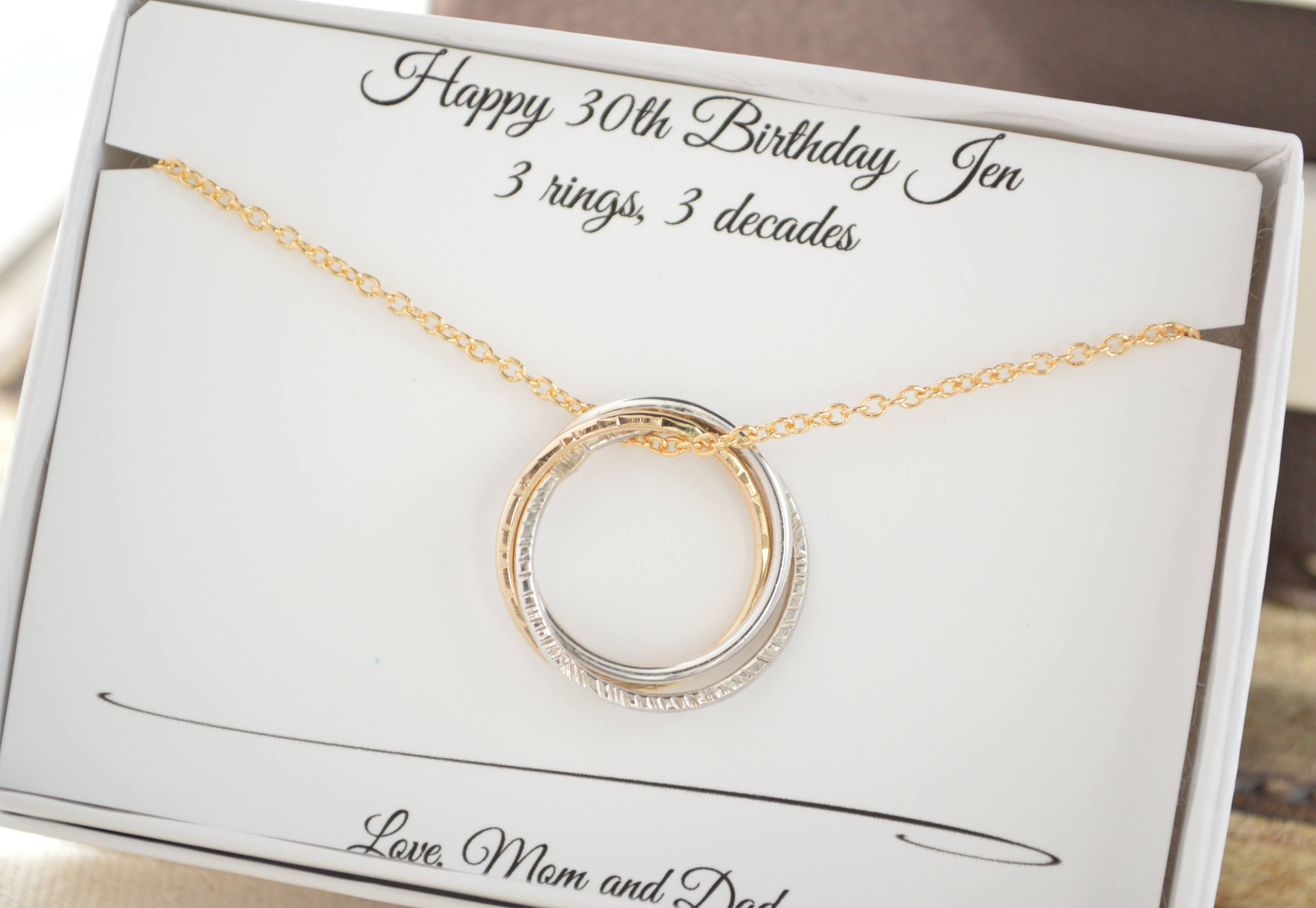 30th Birthday Gifts Ideas 3 Rings Necklace Gallery Photo