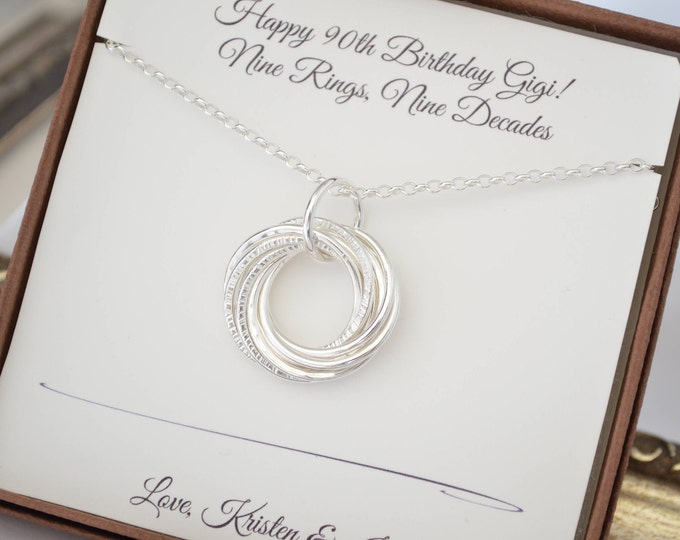 90th Birthday Gift, 90th Birthday gift for Grandma, 9 Rings necklace, 9th Anniversary gift, Gift for Mom, Milestone birthday, 9 decades gift
