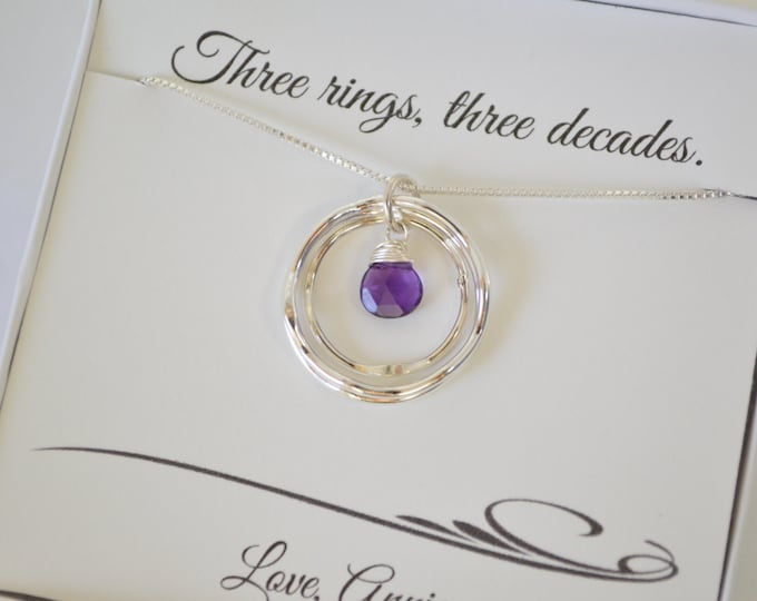 30th Birthday Gift for Her, 3rd Anniversary Gift for Women, Birthday Gift, Amethyst Necklace, Best Friend Gift, Sister Necklace,3 Rings Neck