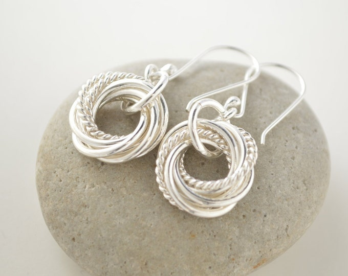 70 Birthday gift for mom, 7 interlocking rings, Circle rings, Small earrings, 7th Anniversary gift, Silver rings, 70 Birthday for mother