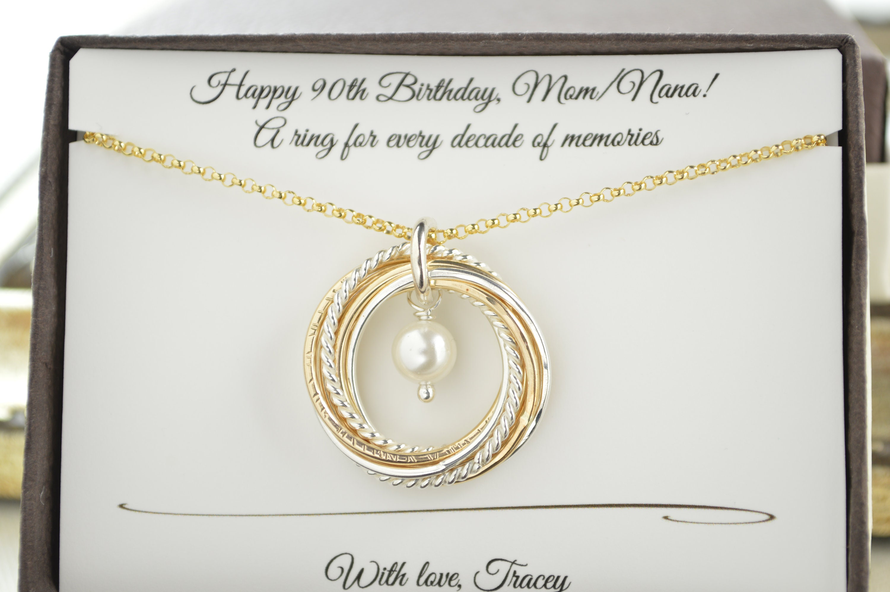 90th Birthday Gift For Mom And Grandma Necklace Gold Pearl