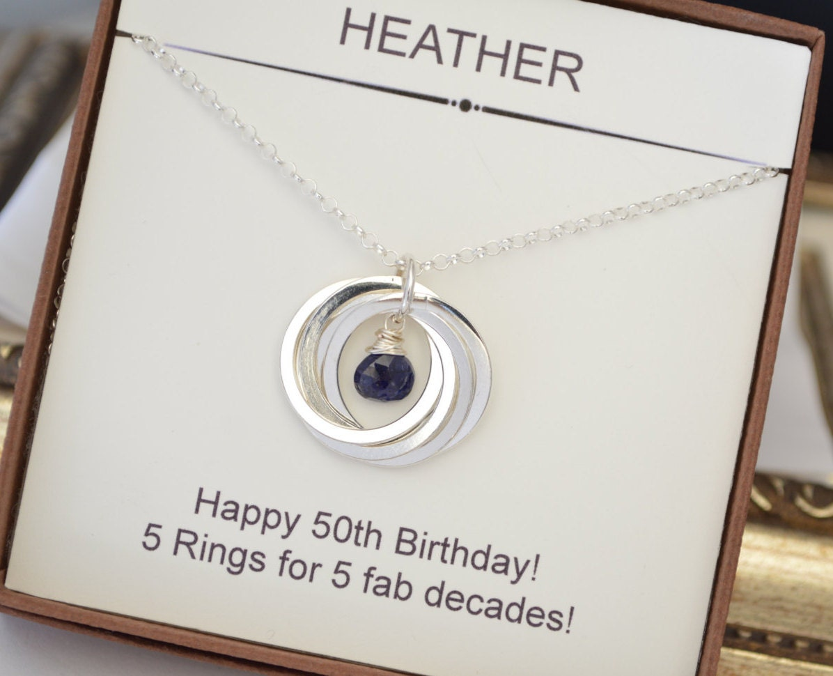 50th Birthday Gift For Wife Sapphire Necklace September Birthstone