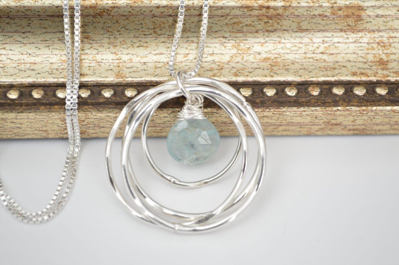 40th Birthday Gift For Her Aquamarine Birthstone Necklace Best Friend