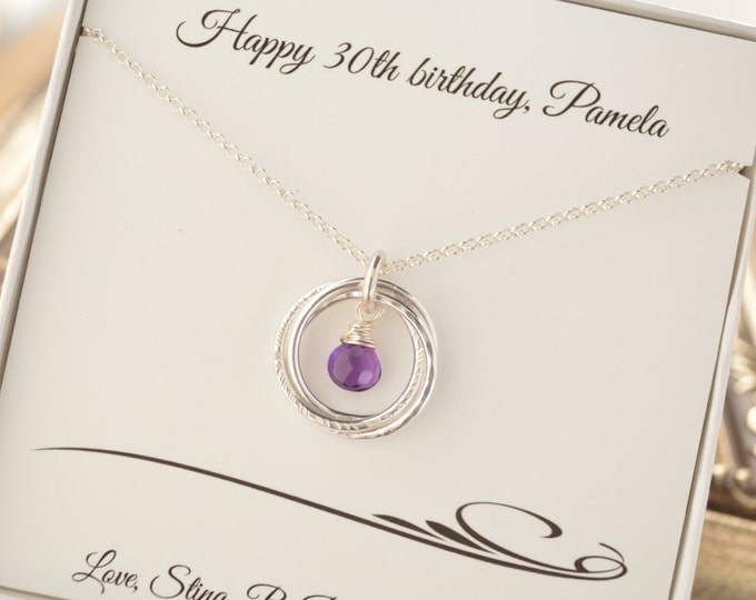 30th Birthday gift for daughter, 3 Rings necklace, February birthstone necklace, 3 Sister necklace, 3 Best friends, Amethyst birthstone neck