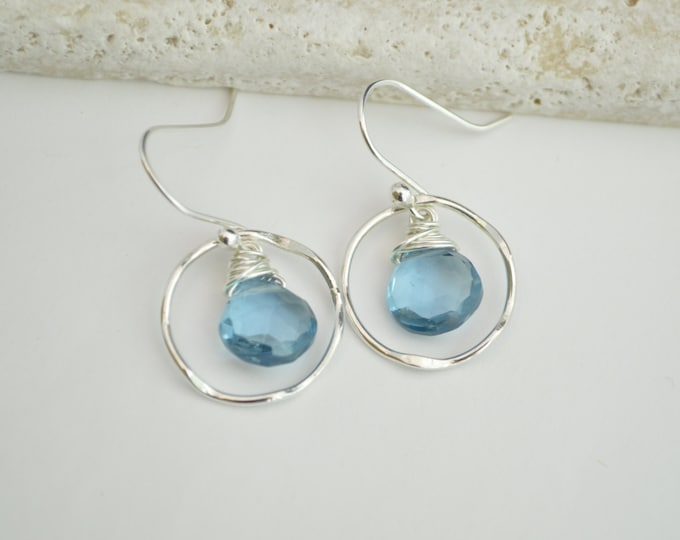 Blue quartz earrings, Gemstone earrings, Blue earrings, September birthstone earrings, Blue dangley earrings, Summer earrings, Bridesmaid