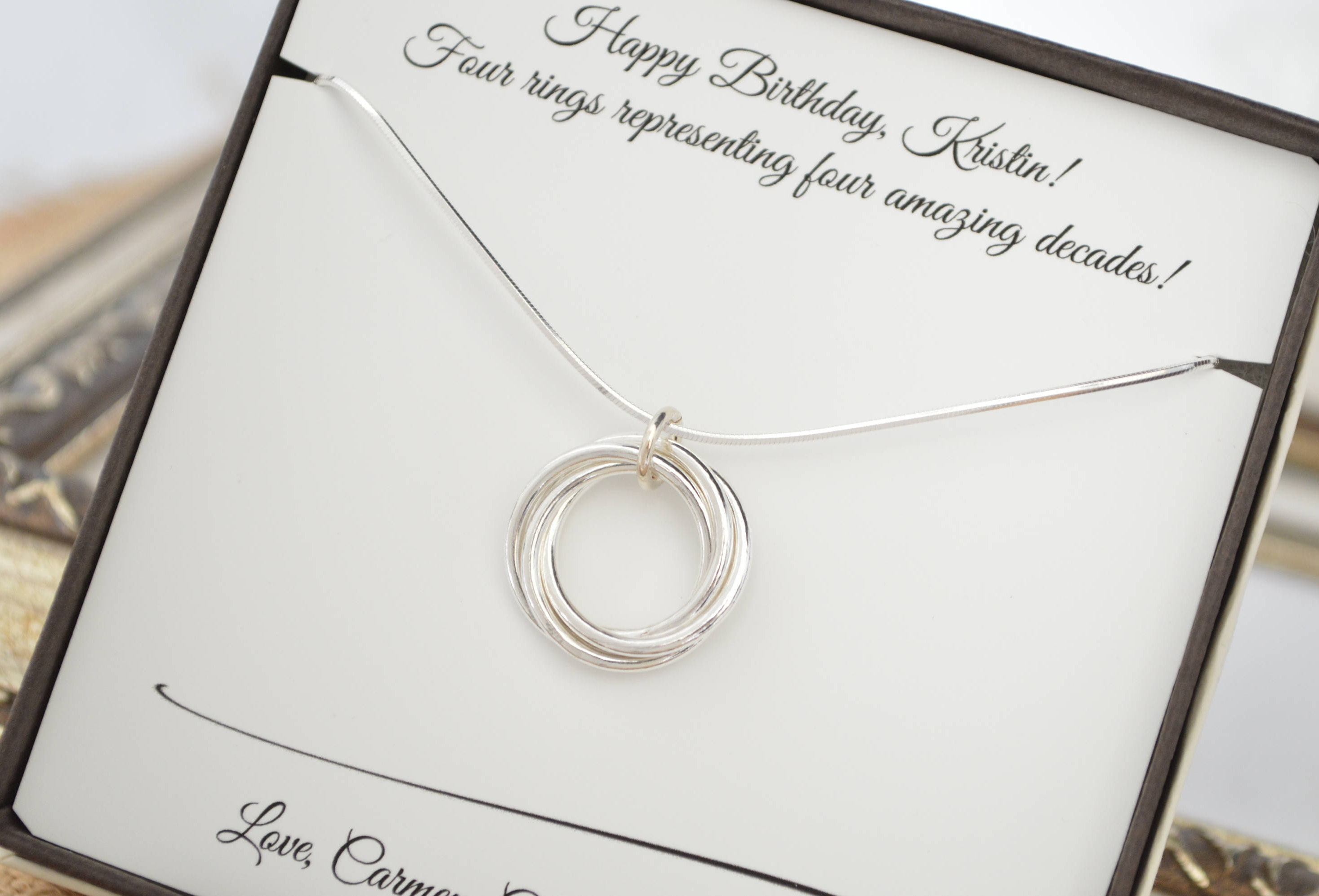 40th Birthday Gift For Her 4 Best Friend Rings Necklace Gallery Photo