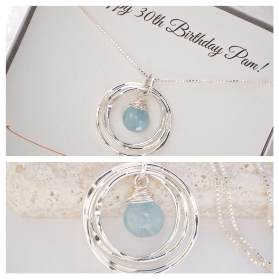 30th Birthday Gift For Daughter Aquamarine Birthstone Necklace March Jewelry New Mom Graduation 3 Sisters Neck