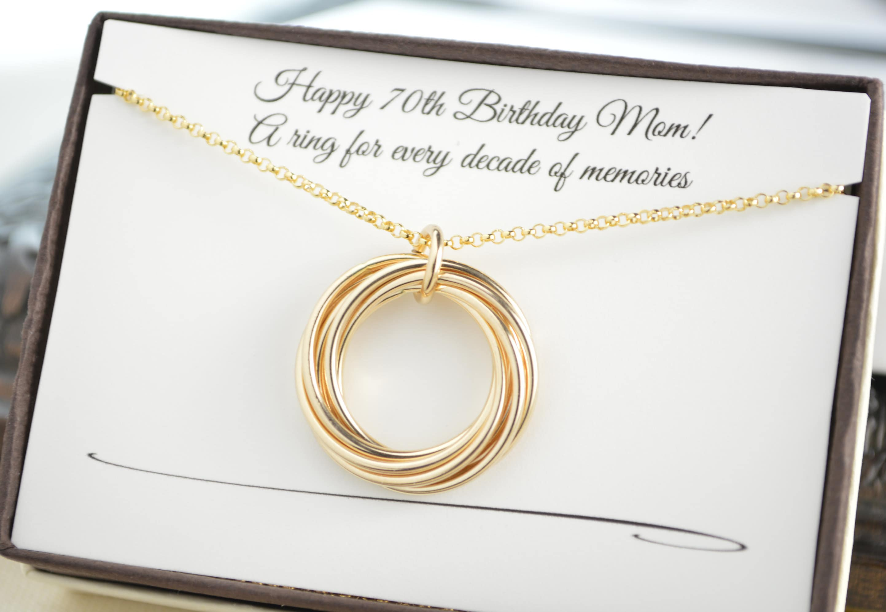 70th Birthday Gift For Mom And Grandma 7 Gold Rings Necklace 7th