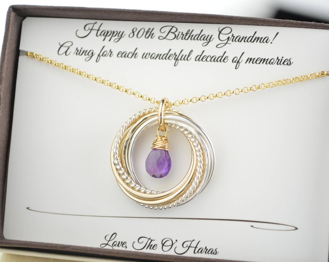 80th Birthday gift for grandma, Birthstone necklace, 8 Rings for 8 decades jewelry, 8th Anniversary gift, 80th Birthday jewelry, Milestone