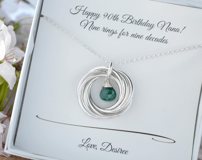 90th Birthday jewelry for her, 90th gift for grandma, 9 Rings 9 decades necklace, May birthstone necklace, Emerald birthstone, Gift for mom
