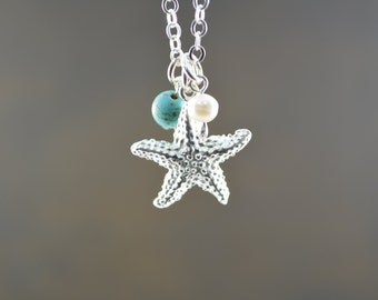 Starfish Necklace, Beach Wedding, Bridesmaid Gift, Starfish Jewelry, Turquoise + Starfish Necklace, Sterling Silver Jewelry, June birthstone