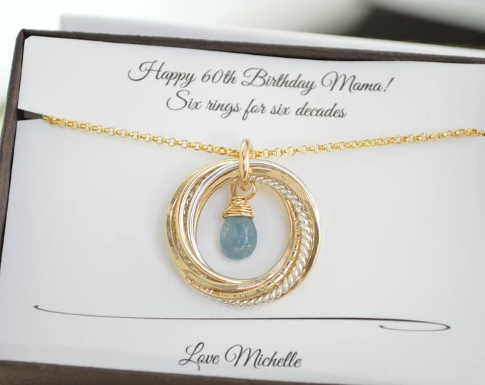 60th Birthday gift for mom, 6 Mixed metals rings, Aquamarine birthstone, 6 Rings necklace, 60th Birthday jewelry for women,6 Decade necklace