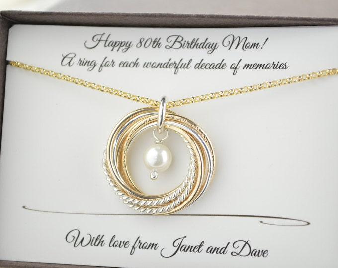 80th Birthday jewelry for mom,  Mixed metals necklace, Gold pearl necklace, June birthstone necklace, 8th Anniversary gift, 8 Decade gift