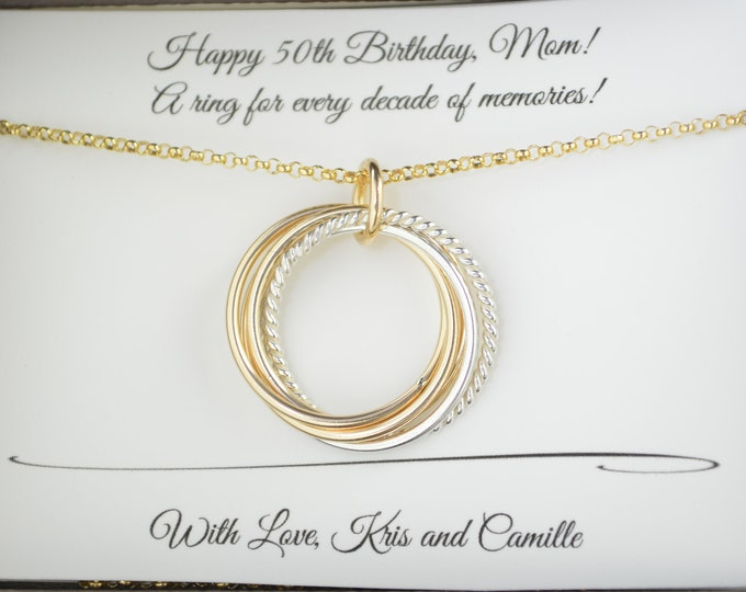 50th Birthday gift for women, 5th Anniversary gift, 50th Birthday gift for mom, 50 Birthday jewelry for her, 5 Rings for 5 decades gift