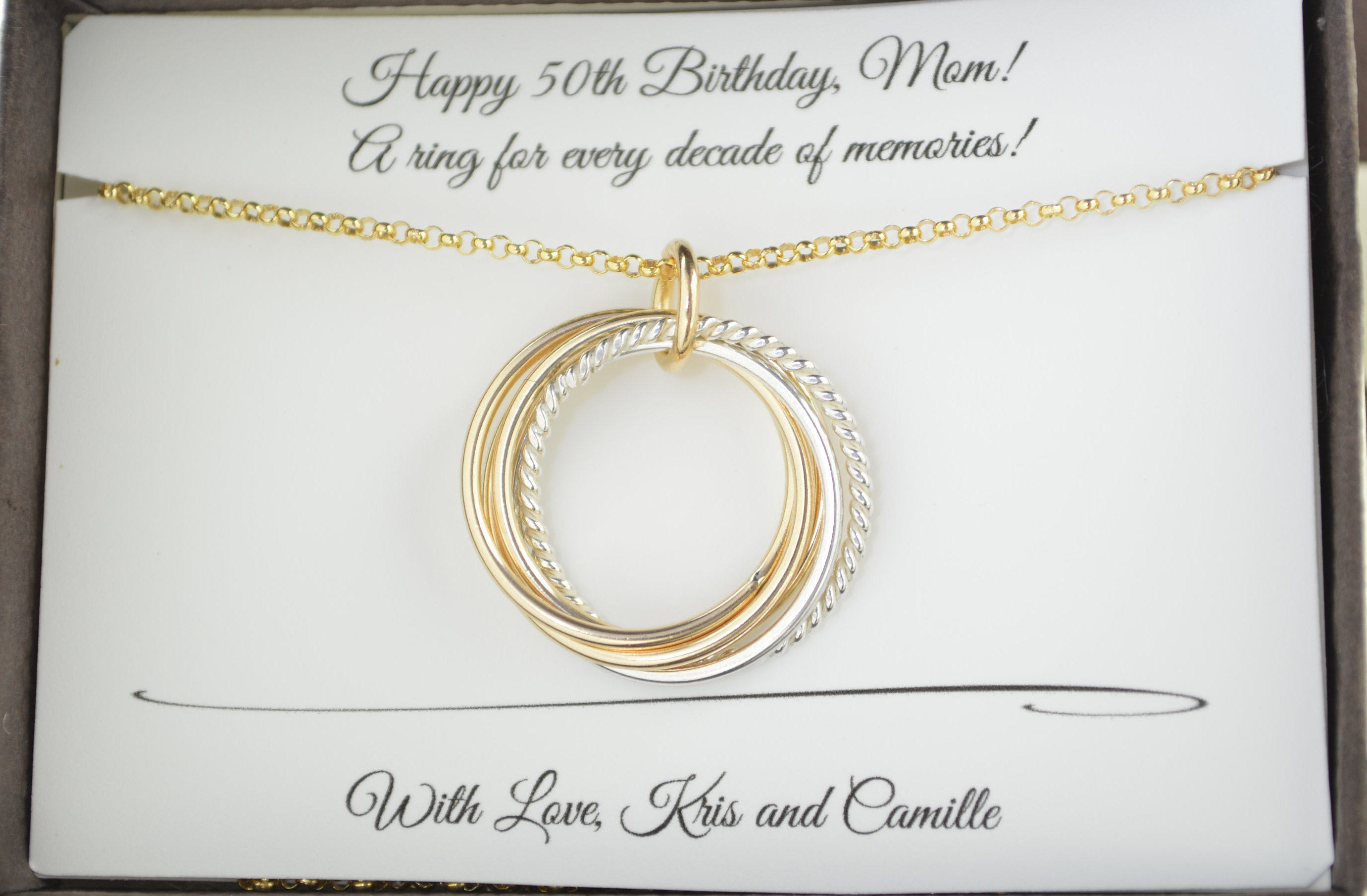 50th Birthday Gift For Women 5 Mixed Metals Necklace 5th Anniversary Mom Best Friends Sisters